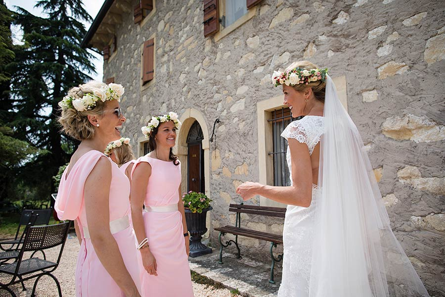 Alexandra and her bridesmaids got ready in an ancient stone walled country house