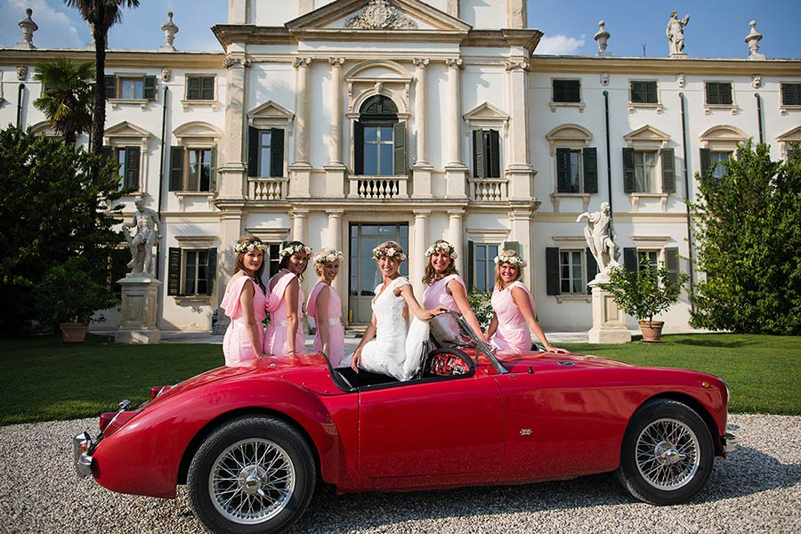 Alexandra and her bridesmaids on the stunning MG A Roadster