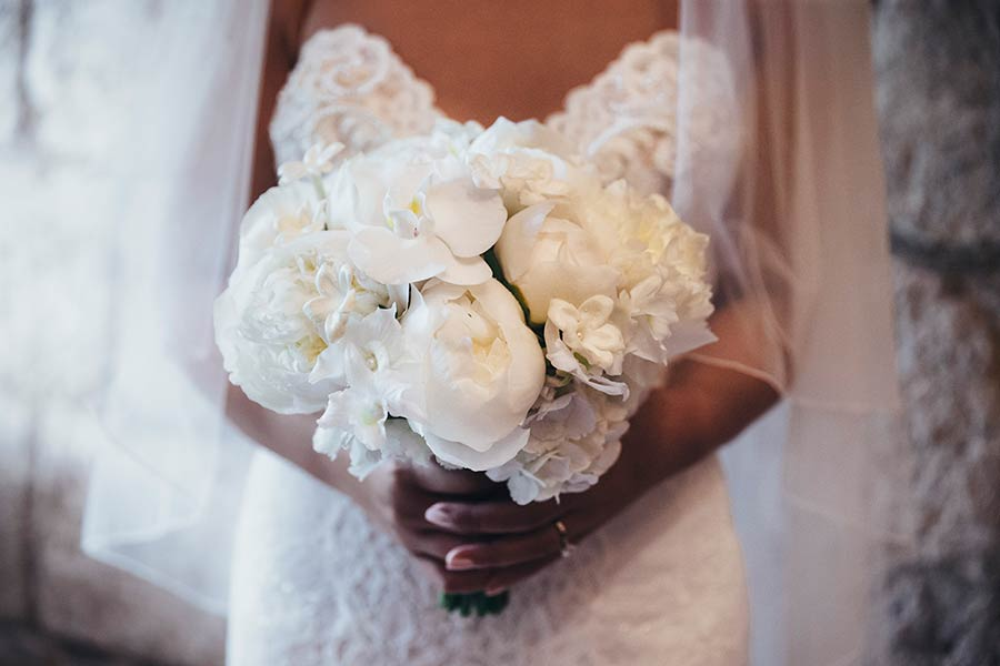 Kim's bouquet made of total all white peonies