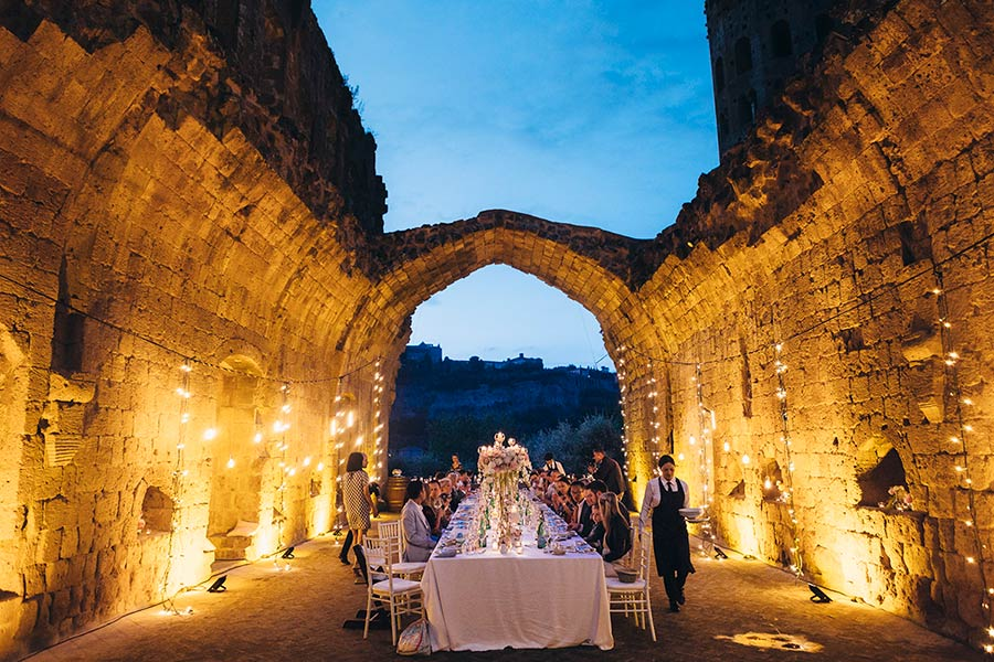 Wedding reception was set in the stunning frame of abbey ruins