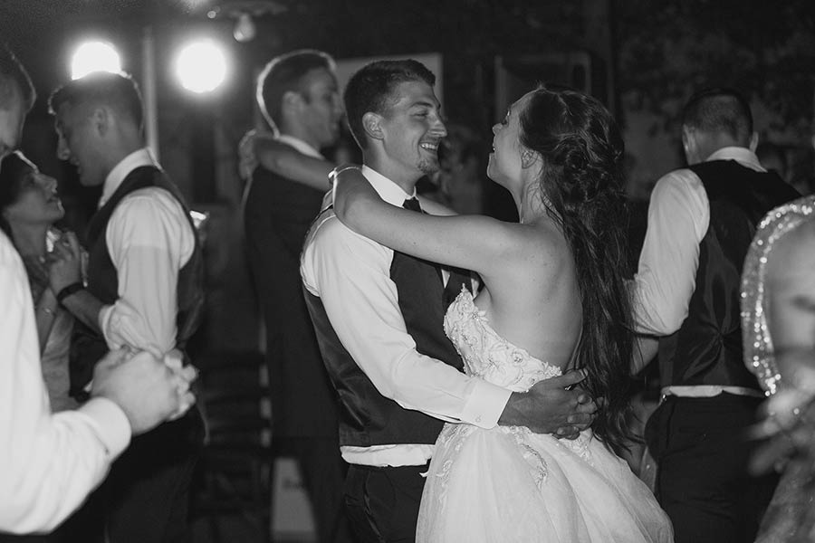 Bride and groom's first dance on the notes of a wonderful romantic tune