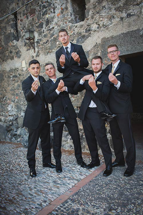 Charlie and his groomsmen - A typical Sicilian gesture