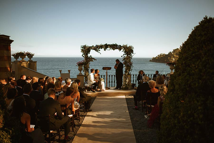 Seaside wedding ceremony at La Cervara in Portofino