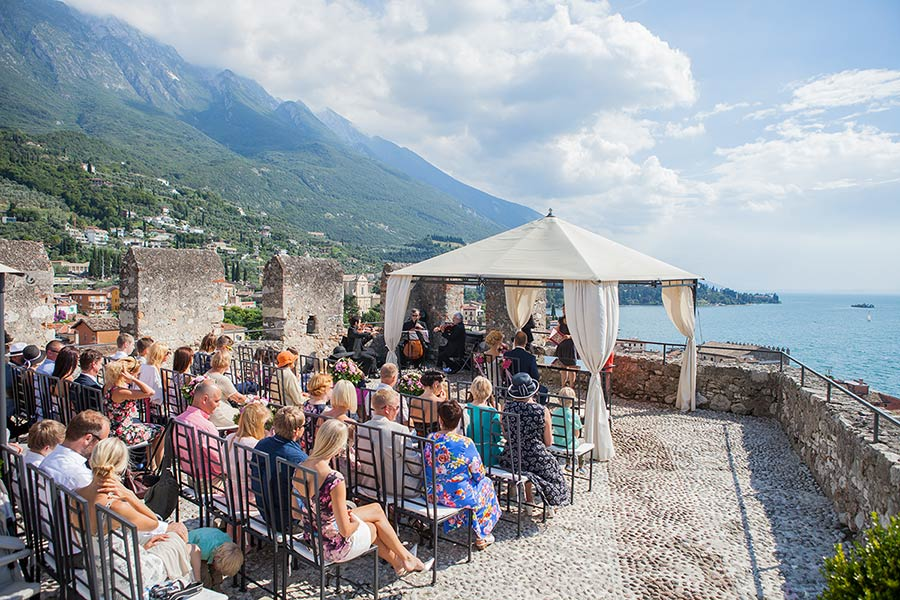 Martti and Kathy's wedding ceremony at Malcesine Castle - photo Studio Morlotti