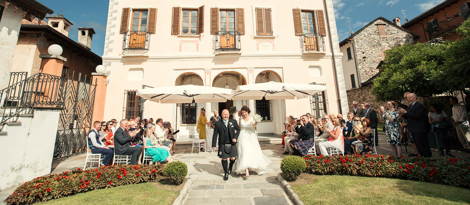 Civil wedding ceremony at Villa Bossi, lake Orta